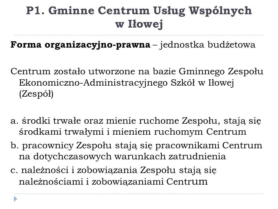 P1. Gminne Centrum Usług Wspólnych w Iłowej Forma organizacyjno-prawna – jednostka budżetowa Centrum zostało utworzone na bazie Gminnego Zespołu Ekono