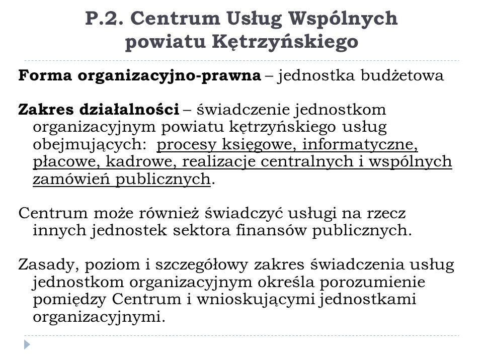 P.2. Centrum Usług Wspólnych powiatu Kętrzyńskiego Forma organizacyjno-prawna – jednostka budżetowa Zakres działalności – świadczenie jednostkom organ