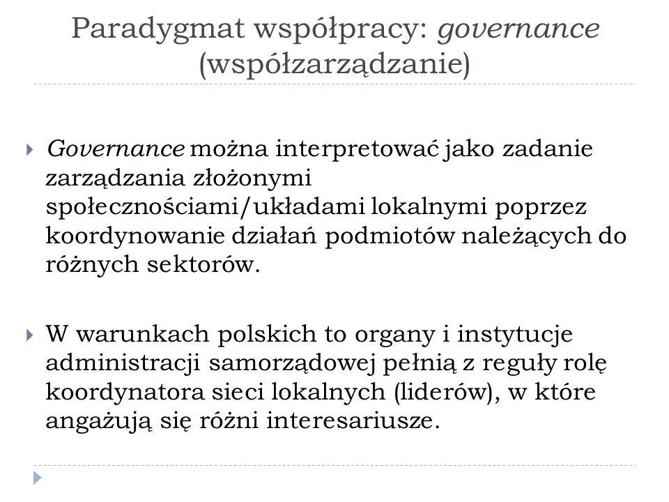 Paradygmat współpracy: governance (współzarządzanie)  Governance można interpretować jako zadanie zarządzania złożonymi społecznościami/układami lokalnymi poprzez koordynowanie działań podmiotów należących do różnych sektorów.