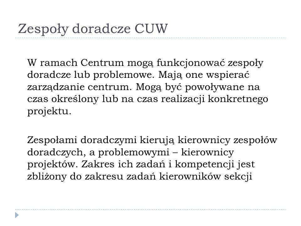 Zespoły doradcze CUW W ramach Centrum mogą funkcjonować zespoły doradcze lub problemowe.
