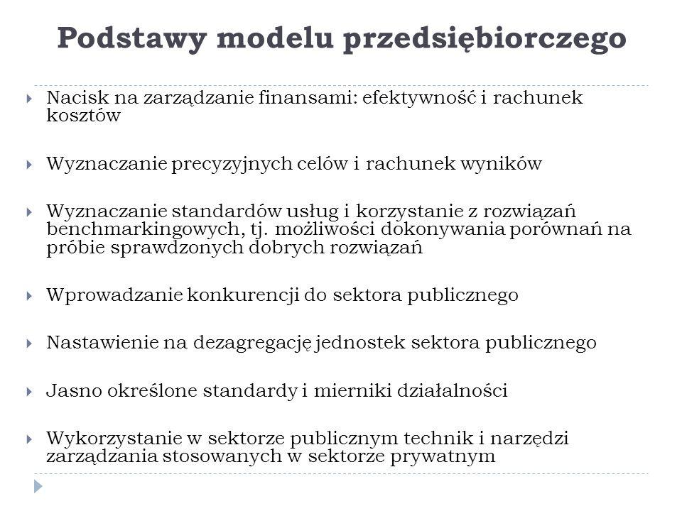 Podstawy modelu przedsiębiorczego  Nacisk na zarządzanie finansami: efektywność i rachunek kosztów  Wyznaczanie precyzyjnych celów i rachunek wyników  Wyznaczanie standardów usług i korzystanie z rozwiązań benchmarkingowych, tj.
