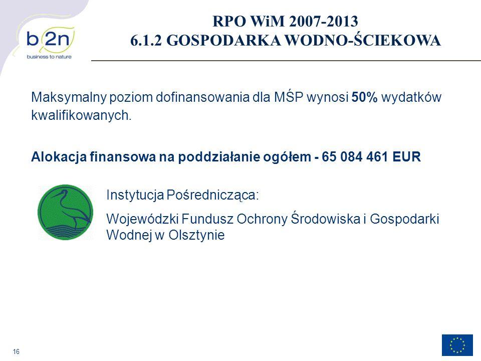 16 Maksymalny poziom dofinansowania dla MŚP wynosi 50% wydatków kwalifikowanych. Alokacja finansowa na poddziałanie ogółem - 65 084 461 EUR RPO WiM 20