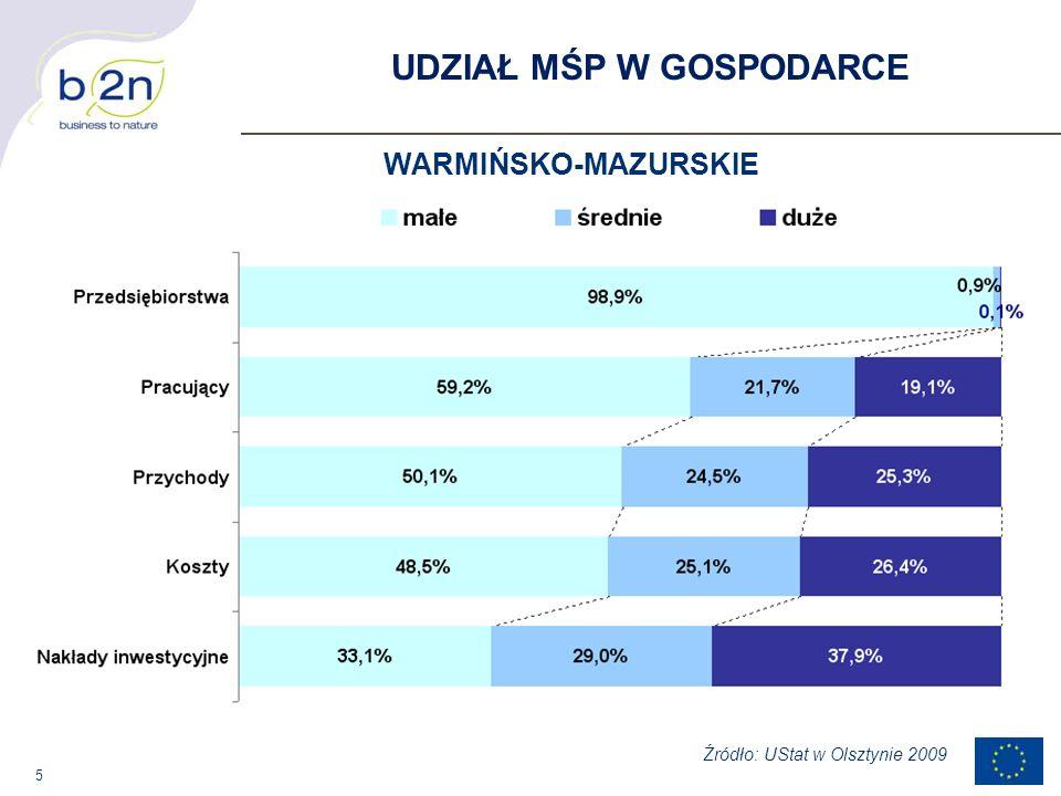 5 UDZIAŁ MŚP W GOSPODARCE WARMIŃSKO-MAZURSKIE Źródło: UStat w Olsztynie 2009