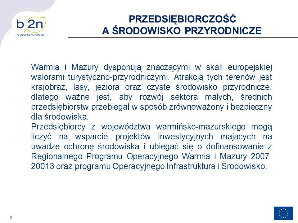 10 REGIONALNY PROGRAM OPERACYJNY WARMIA I MAZURY 2007-2013 I Oś Priorytetowa Przedsiębiorczość Działanie: 1.1 Wzrost konkurencyjności przedsiębiorstw Poddziałanie: 1.1.5 Wsparcie MŚP - promocja produktów i procesów przyjaznych dla środowiska VI Oś priorytetowa Środowisko Przyrodnicze Działanie: 6.1 Poprawa i zapobieganie degradacji środowiska poprzez budowę, rozbudowę i modernizację infrastruktury ochrony środowiska Poddziałanie 6.1.1 Gospodarka odpadami i ochrona powierzchni ziemi Poddziałanie 6.1.2 Gospodarka wodno-ściekowa Działanie: 6.2 Ochrona środowiska przed zanieczyszczeniami i zniszczeniami Poddziałanie 6.2.1 Wykorzystanie odnawialnych źródeł energii