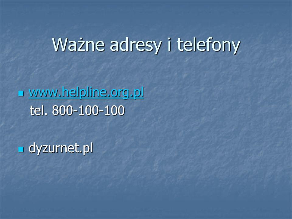 Ważne adresy i telefony www.helpline.org.pl www.helpline.org.pl www.helpline.org.pl tel. 800-100-100 tel. 800-100-100 dyzurnet.pl dyzurnet.pl