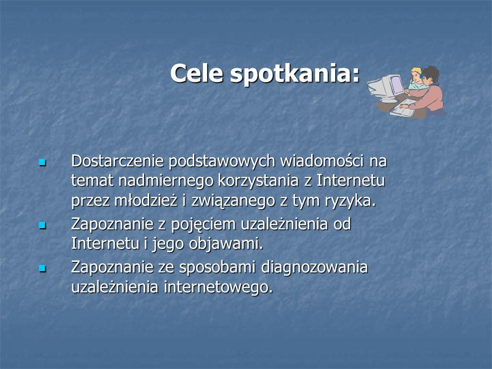 Cele spotkania: Cele spotkania: Dostarczenie podstawowych wiadomości na temat nadmiernego korzystania z Internetu przez młodzież i związanego z tym ry