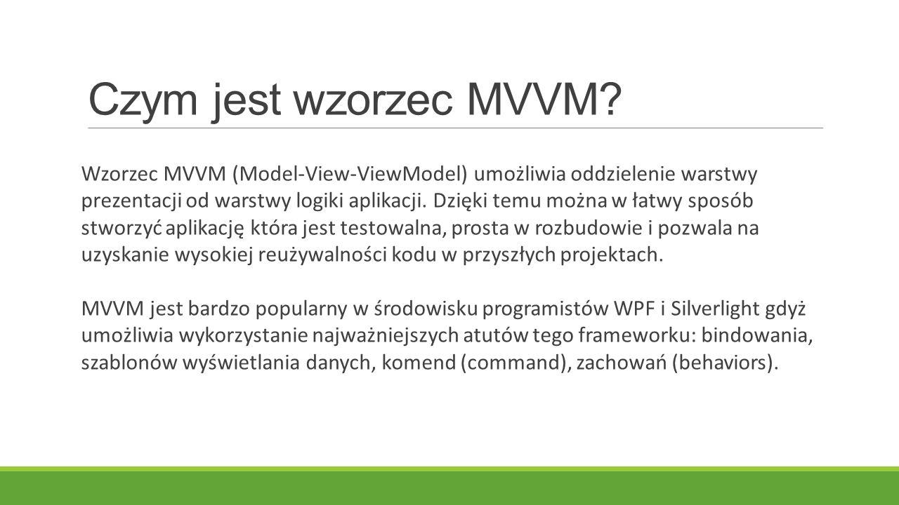 Czym jest wzorzec MVVM? Wzorzec MVVM (Model-View-ViewModel) umożliwia oddzielenie warstwy prezentacji od warstwy logiki aplikacji. Dzięki temu można w