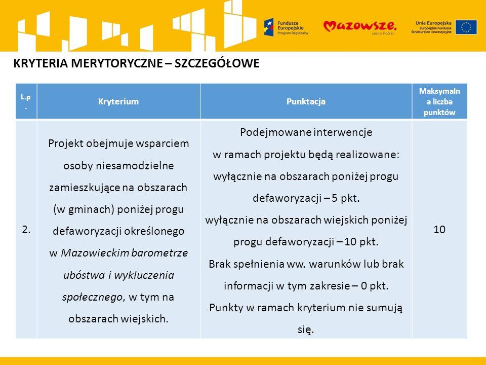 L.p. KryteriumPunktacja Maksymaln a liczba punktów 2.