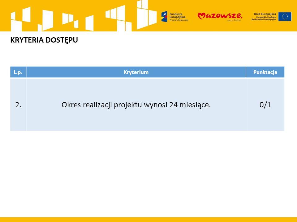 L.p.KryteriumPunktacja 2.Okres realizacji projektu wynosi 24 miesiące.0/1 KRYTERIA DOSTĘPU