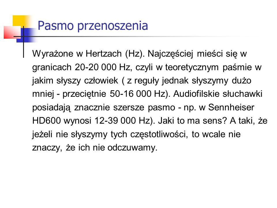 Pasmo przenoszenia Wyrażone w Hertzach (Hz).