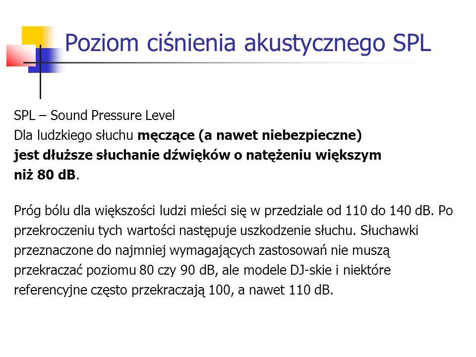 Poziom ciśnienia akustycznego SPL SPL – Sound Pressure Level Dla ludzkiego słuchu męczące (a nawet niebezpieczne) jest dłuższe słuchanie dźwięków o natężeniu większym niż 80 dB.