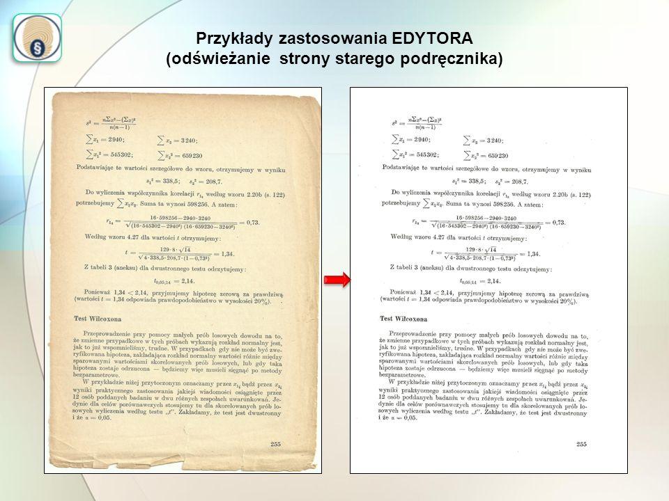 Przykłady zastosowania EDYTORA (odświeżanie strony starego podręcznika)
