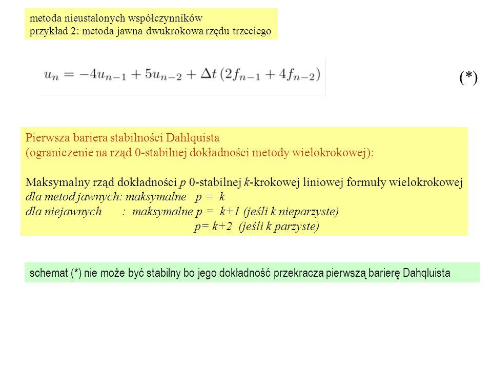 metoda nieustalonych współczynników przykład 2: metoda jawna dwukrokowa rzędu trzeciego Pierwsza bariera stabilności Dahlquista (ograniczenie na rząd 0-stabilnej dokładności metody wielokrokowej): Maksymalny rząd dokładności p 0-stabilnej k-krokowej liniowej formuły wielokrokowej dla metod jawnych: maksymalne p = k dla niejawnych : maksymalne p = k+1 (jeśli k nieparzyste) p= k+2 (jeśli k parzyste) schemat (*) nie może być stabilny bo jego dokładność przekracza pierwszą barierę Dahqluista (*)