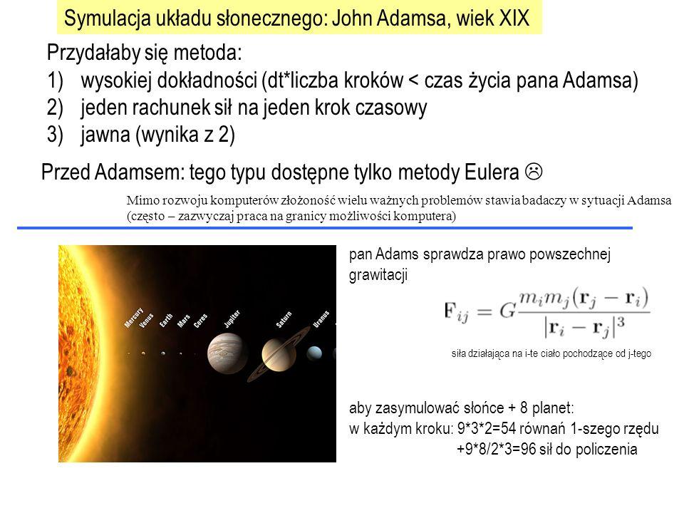 http://media.skyandtelescope.com/images/TwelvePlanets_l.jpg aby zasymulować słońce + 8 planet: w każdym kroku: 9*3*2=54 równań 1-szego rzędu +9*8/2*3=96 sił do policzenia pan Adams sprawdza prawo powszechnej grawitacji Przydałaby się metoda: 1)wysokiej dokładności (dt*liczba kroków < czas życia pana Adamsa) 2)jeden rachunek sił na jeden krok czasowy 3)jawna (wynika z 2) Przed Adamsem: tego typu dostępne tylko metody Eulera  Symulacja układu słonecznego: John Adamsa, wiek XIX Mimo rozwoju komputerów złożoność wielu ważnych problemów stawia badaczy w sytuacji Adamsa (często – zazwyczaj praca na granicy możliwości komputera)
