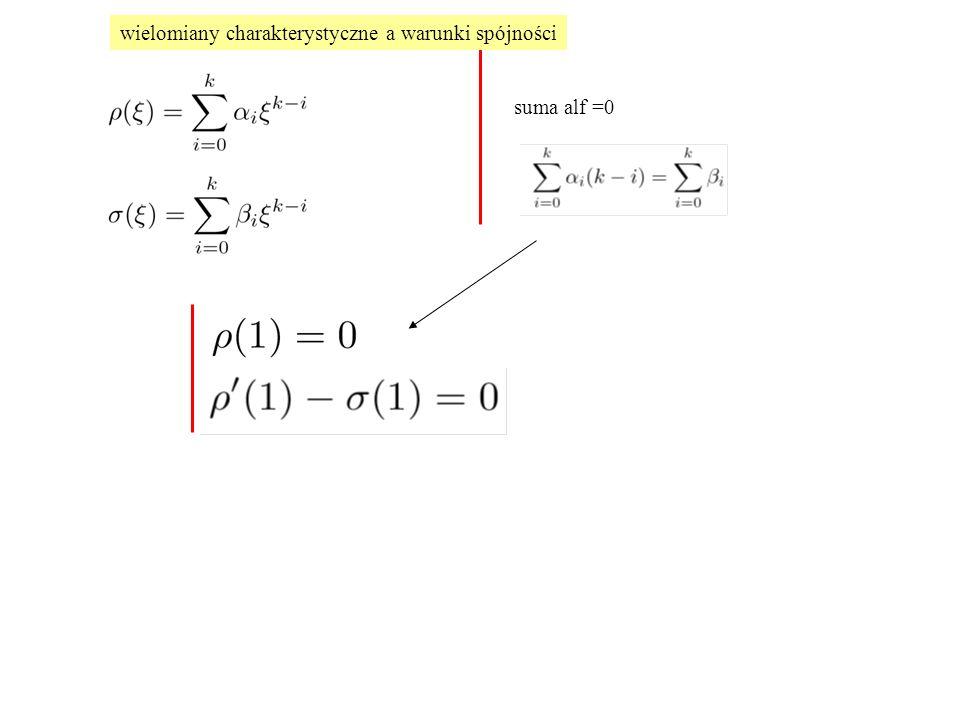 suma alf =0 wielomiany charakterystyczne a warunki spójności