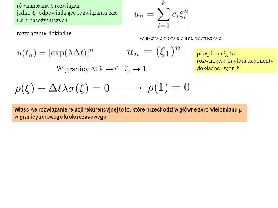 równanie ma k rozwiązań jedno  1 odpowiadające rozwiązaniu RR i k-1 pasożytniczych rozwiązanie dokładne: właściwe rozwiązanie różnicowe: W granicy  t  0:  1  1 przepis na  1 to rozwinięcie Taylora exponenty dokładne rzędu k Właściwe rozwiązanie relacji rekurencyjnej to to, które przechodzi w główne zero wielomianu  w granicy zerowego kroku czasowego