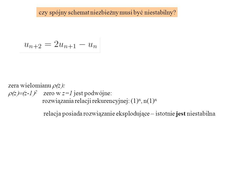 zera wielomianu  z   z  z-1    zero w z=1 jest podwójne: rozwiązania relacji rekurencyjnej: (1) n, n(1) n relacja posiada rozwiązanie eksplodujące – istotnie jest niestabilna czy spójny schemat niezbieżny musi być niestabilny
