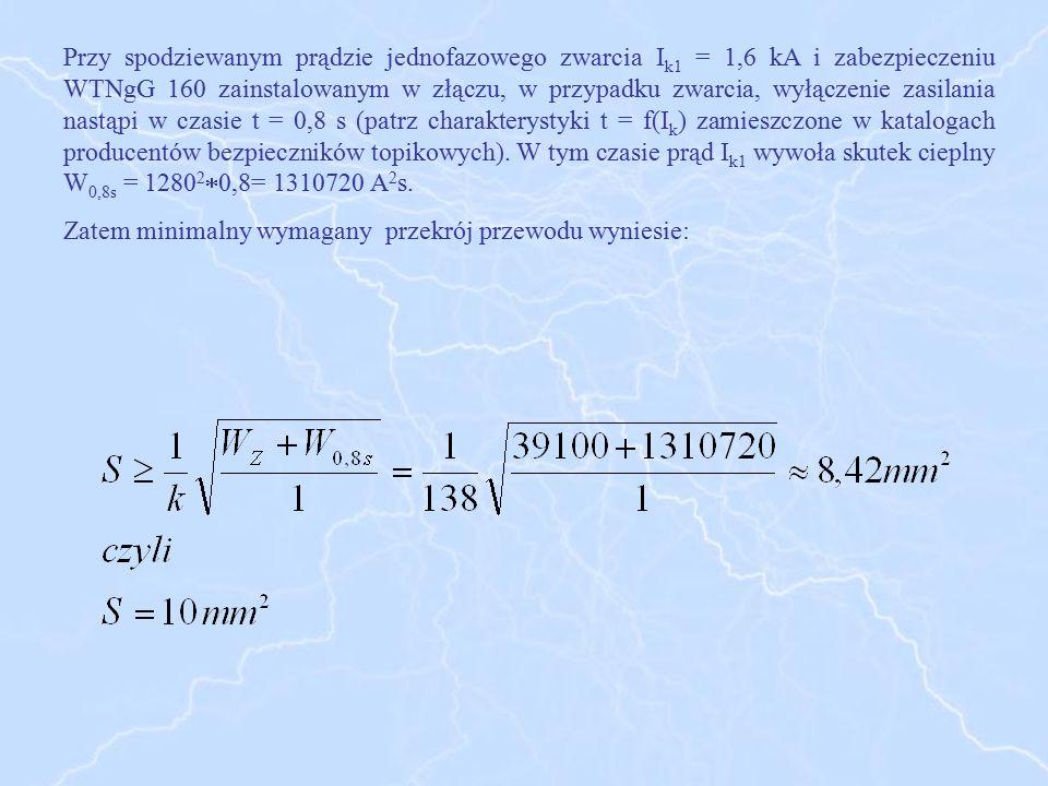 Przy spodziewanym prądzie jednofazowego zwarcia I k1 = 1,6 kA i zabezpieczeniu WTNgG 160 zainstalowanym w złączu, w przypadku zwarcia, wyłączenie zasi