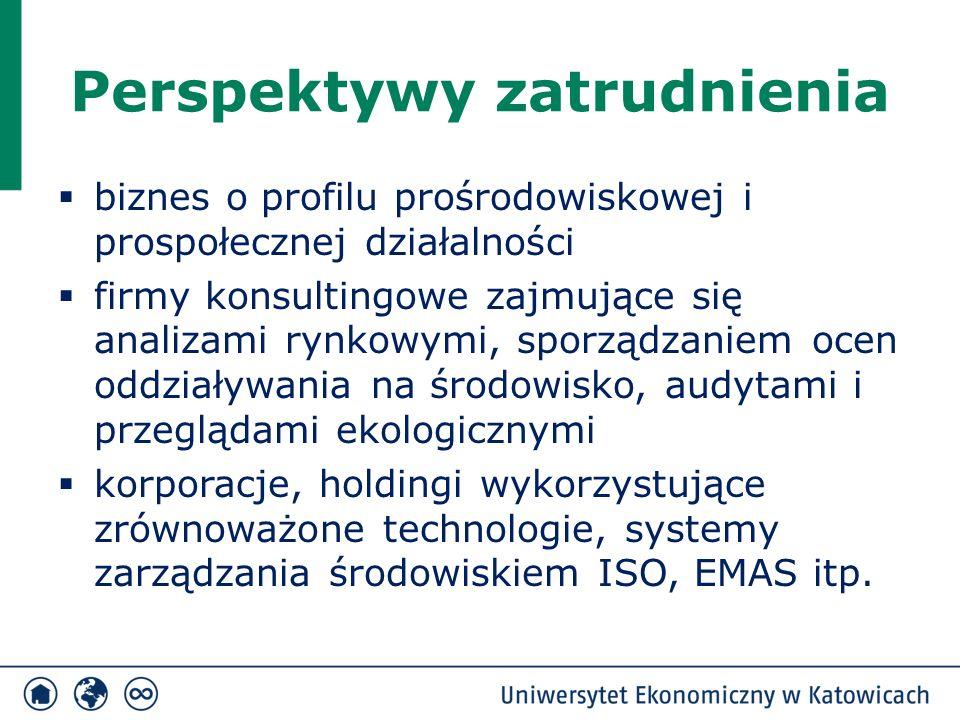 Perspektywy zatrudnienia  biznes o profilu prośrodowiskowej i prospołecznej działalności  firmy konsultingowe zajmujące się analizami rynkowymi, sporządzaniem ocen oddziaływania na środowisko, audytami i przeglądami ekologicznymi  korporacje, holdingi wykorzystujące zrównoważone technologie, systemy zarządzania środowiskiem ISO, EMAS itp.