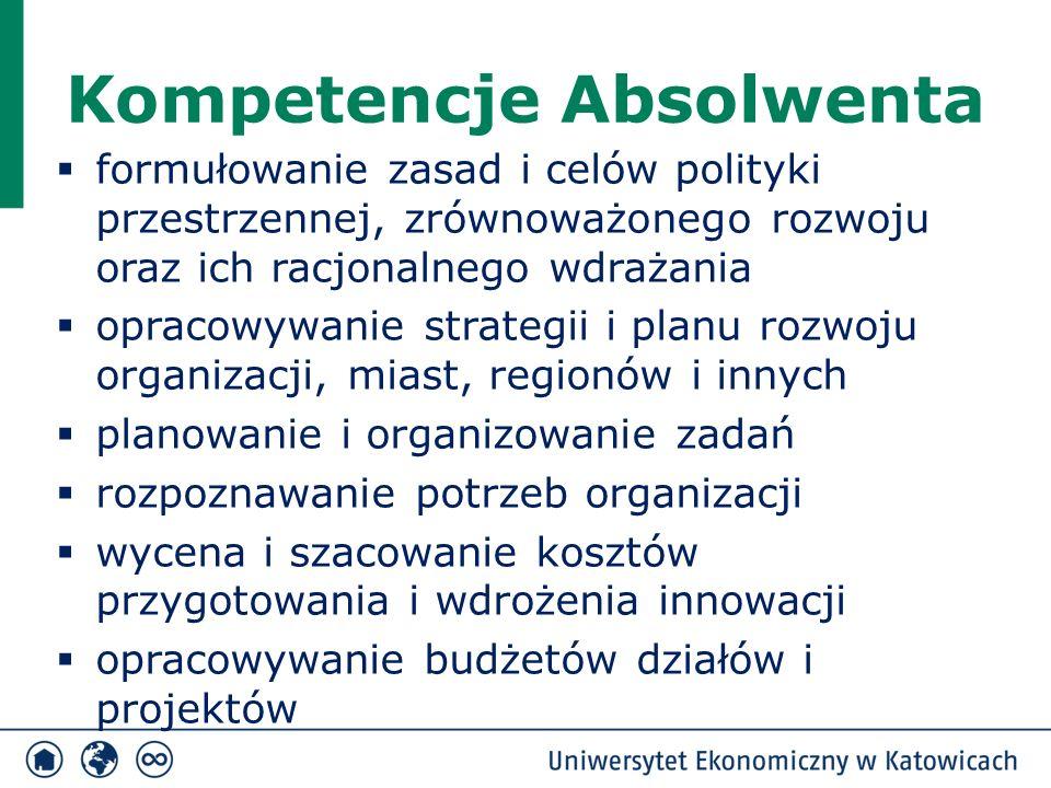 Kompetencje Absolwenta  formułowanie zasad i celów polityki przestrzennej, zrównoważonego rozwoju oraz ich racjonalnego wdrażania  opracowywanie strategii i planu rozwoju organizacji, miast, regionów i innych  planowanie i organizowanie zadań  rozpoznawanie potrzeb organizacji  wycena i szacowanie kosztów przygotowania i wdrożenia innowacji  opracowywanie budżetów działów i projektów