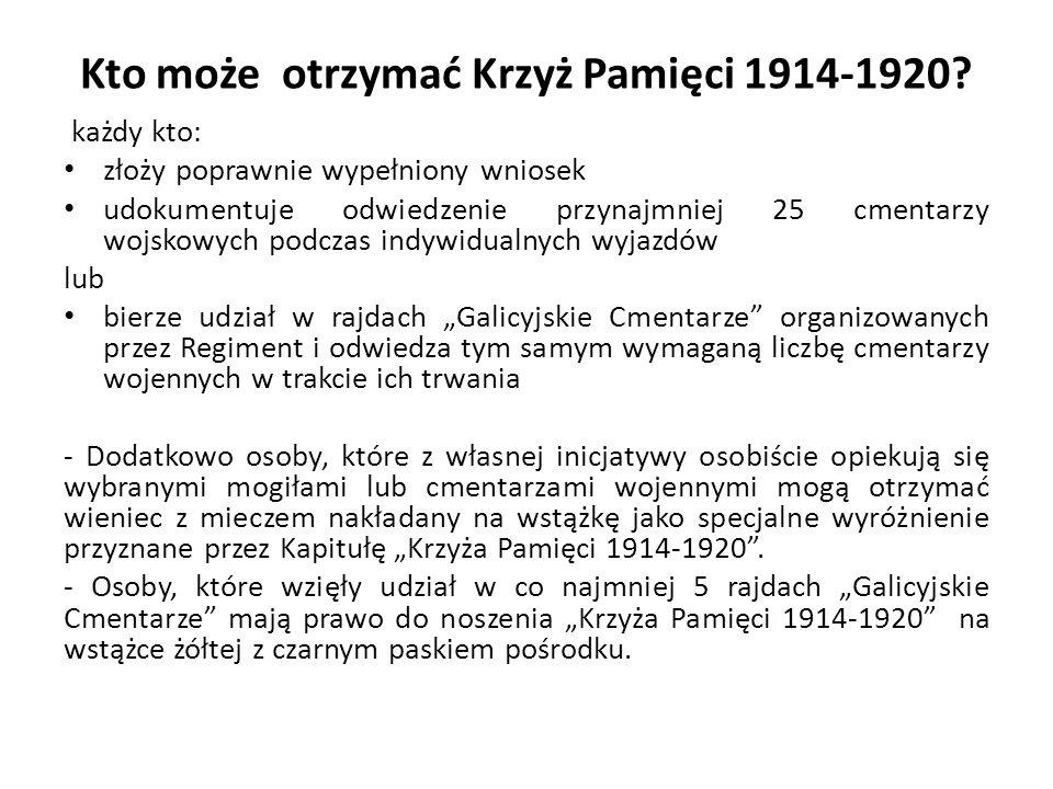 """Wniosek I NADANIE """"KRZYZY PAMIĘCI 1914-1920 Planowane jest 29 kwietnia 2016 r."""