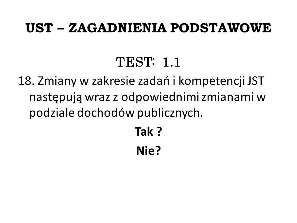 UST – ZAGADNIENIA PODSTAWOWE TEST: 1.1 18.