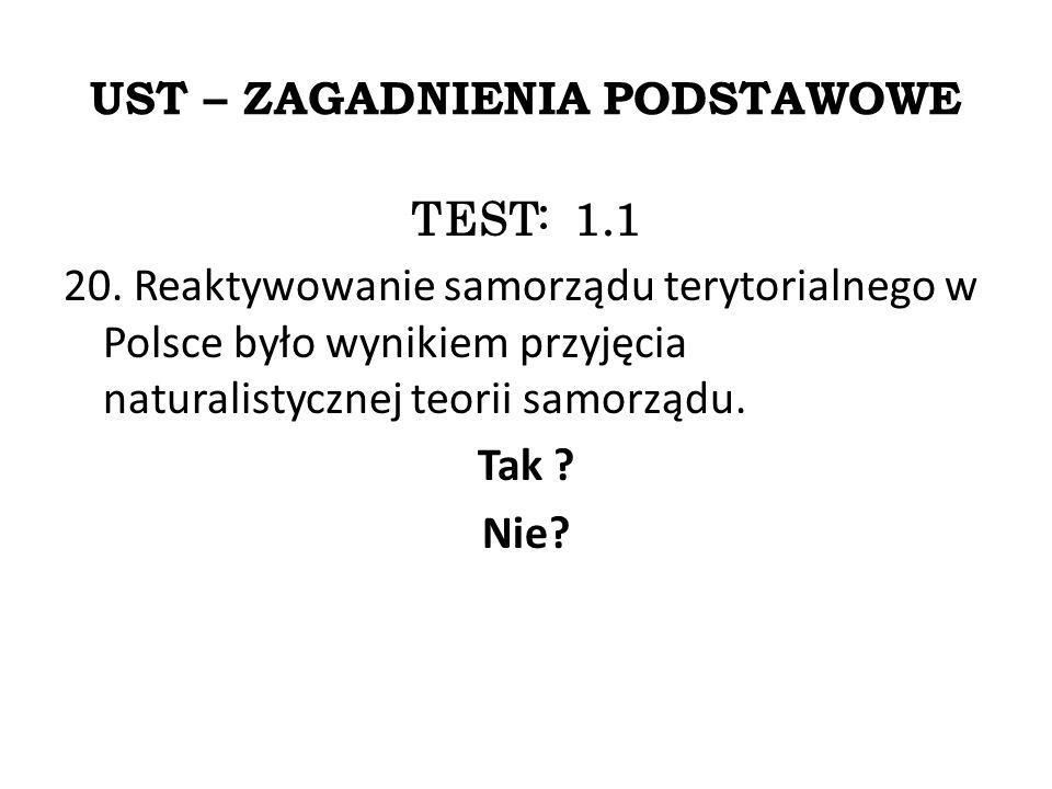 UST – ZAGADNIENIA PODSTAWOWE TEST: 1.1 20.