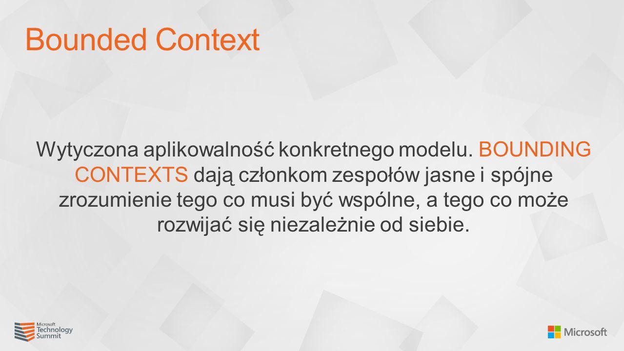Wytyczona aplikowalność konkretnego modelu. BOUNDING CONTEXTS dają członkom zespołów jasne i spójne zrozumienie tego co musi być wspólne, a tego co mo