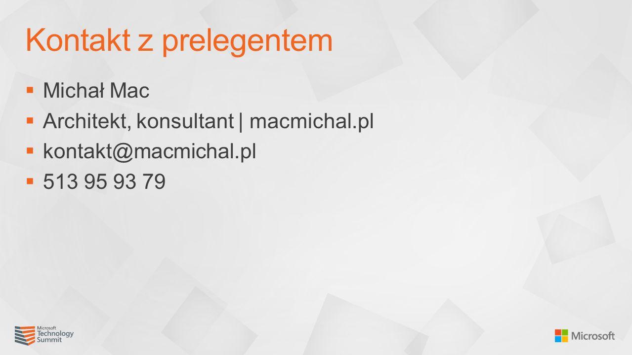  Michał Mac  Architekt, konsultant | macmichal.pl  kontakt@macmichal.pl  513 95 93 79 Kontakt z prelegentem