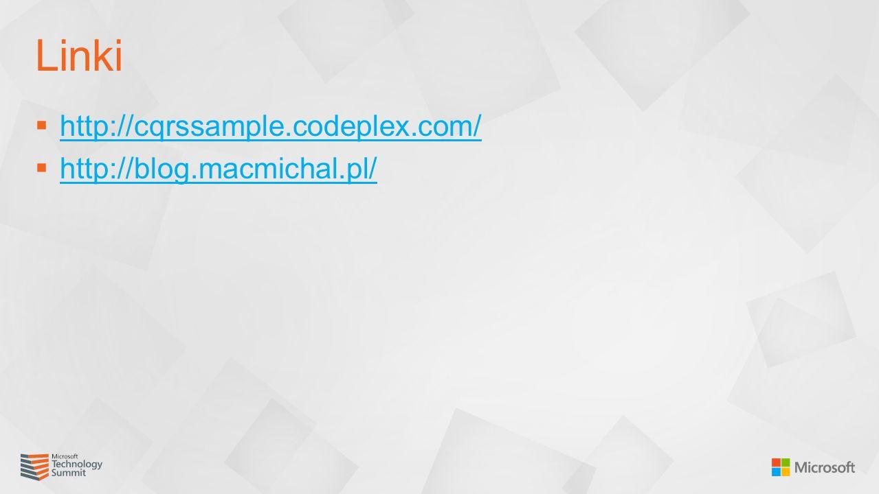  http://cqrssample.codeplex.com/ http://cqrssample.codeplex.com/  http://blog.macmichal.pl/ http://blog.macmichal.pl/ Linki