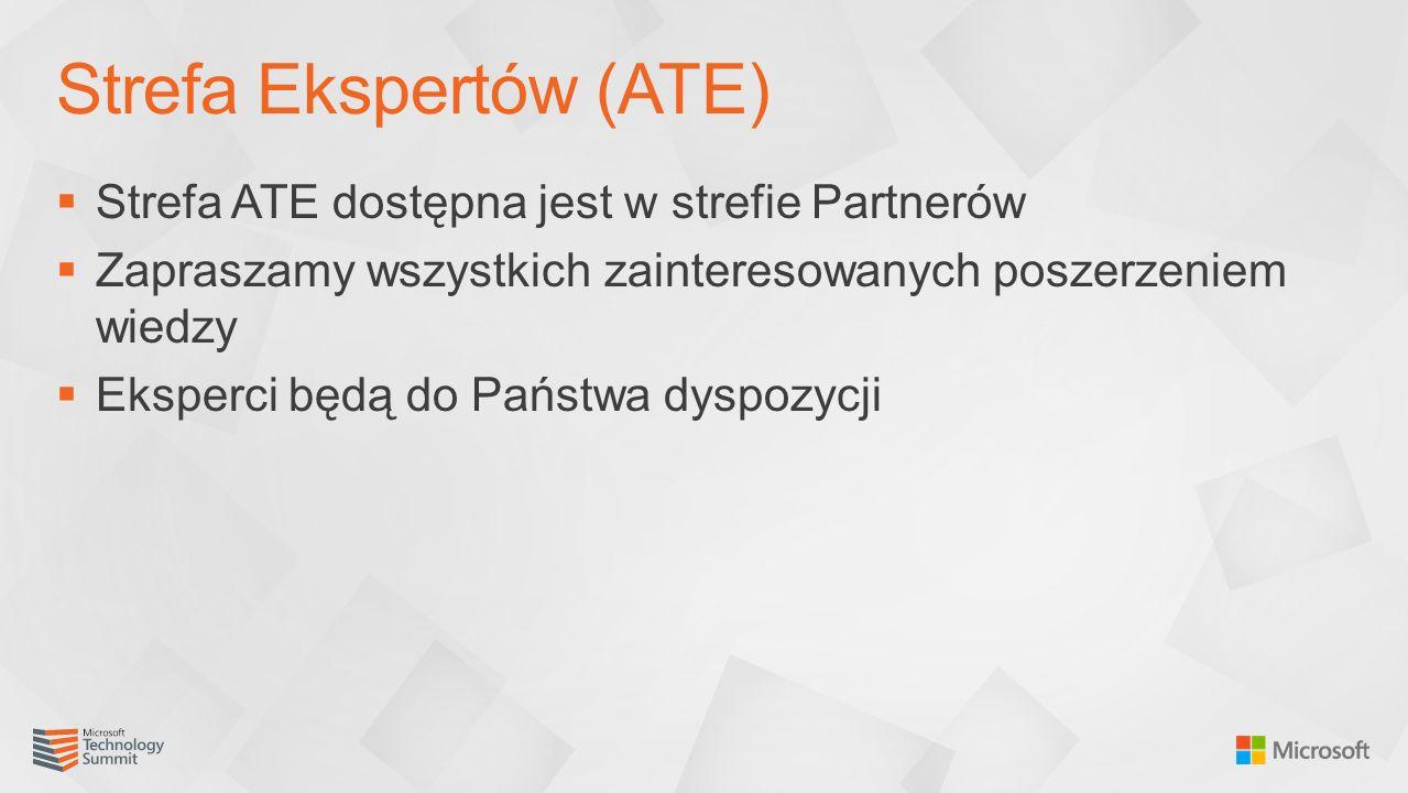  Strefa ATE dostępna jest w strefie Partnerów  Zapraszamy wszystkich zainteresowanych poszerzeniem wiedzy  Eksperci będą do Państwa dyspozycji Strefa Ekspertów (ATE)