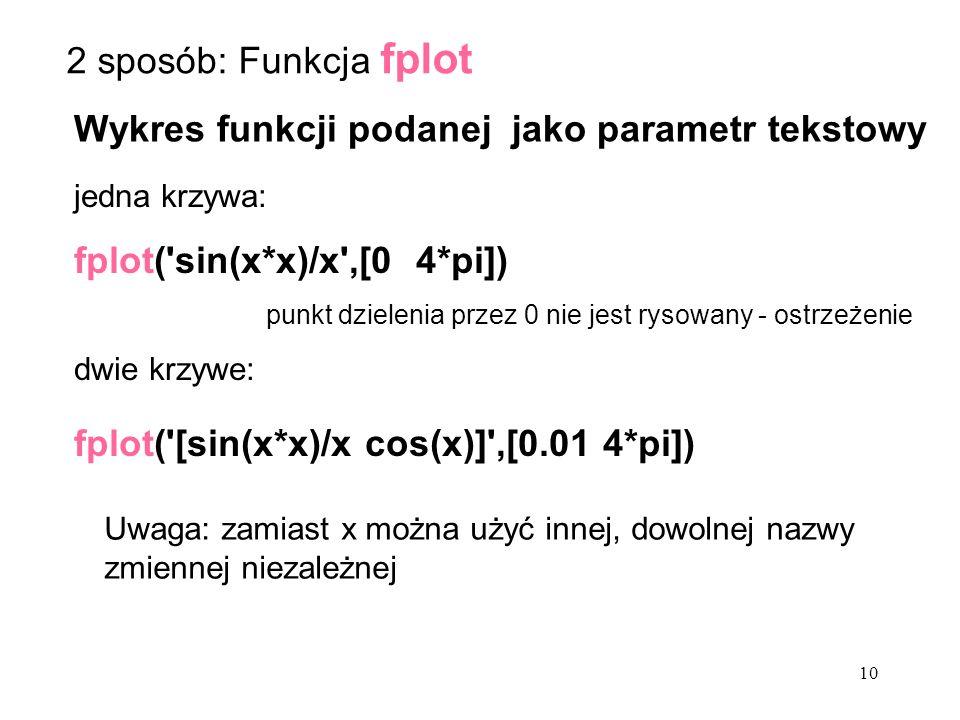 Wykres funkcji podanej jako parametr tekstowy jedna krzywa: fplot( sin(x*x)/x ,[0 4*pi]) punkt dzielenia przez 0 nie jest rysowany - ostrzeżenie dwie krzywe: fplot( [sin(x*x)/x cos(x)] ,[0.01 4*pi]) Uwaga: zamiast x można użyć innej, dowolnej nazwy zmiennej niezależnej 2 sposób: Funkcja fplot 10