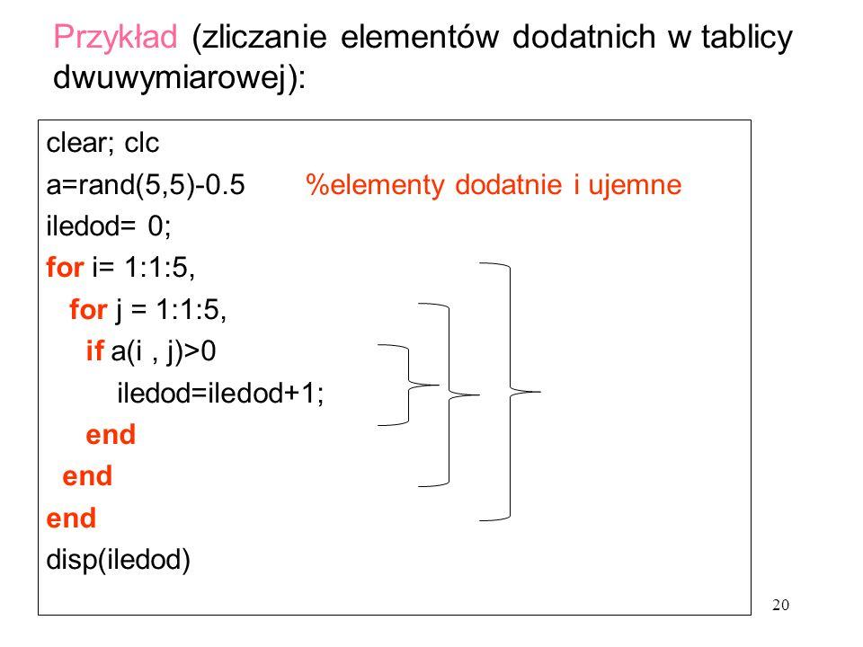 clear; clc a=rand(5,5)-0.5 %elementy dodatnie i ujemne iledod= 0; for i= 1:1:5, for j = 1:1:5, if a(i, j)>0 iledod=iledod+1; end disp(iledod) Przykład (zliczanie elementów dodatnich w tablicy dwuwymiarowej): 20