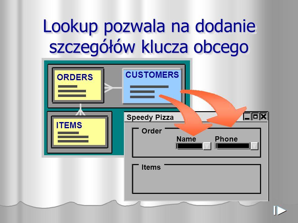 Lookup pozwala na dodanie szczegółów klucza obcego ITEMS ORDERS CUSTOMERS Speedy Pizza Order Items NamePhone