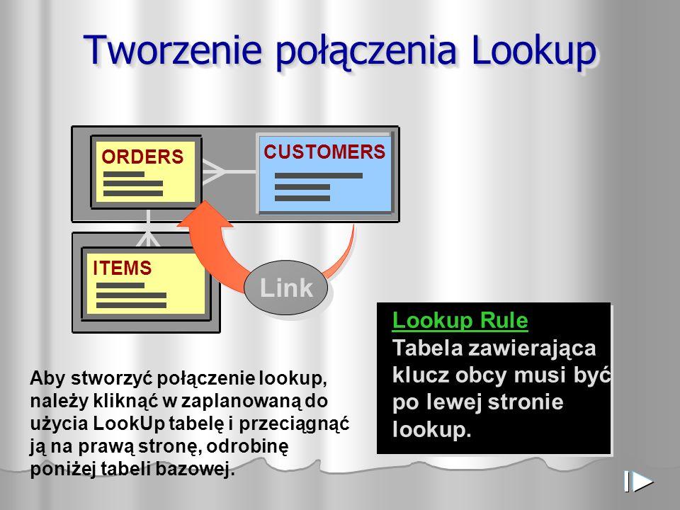 ORDERS CUSTOMERS ITEMS Tworzenie połączenia Lookup Lookup Rule Tabela zawierająca klucz obcy musi być po lewej stronie lookup.