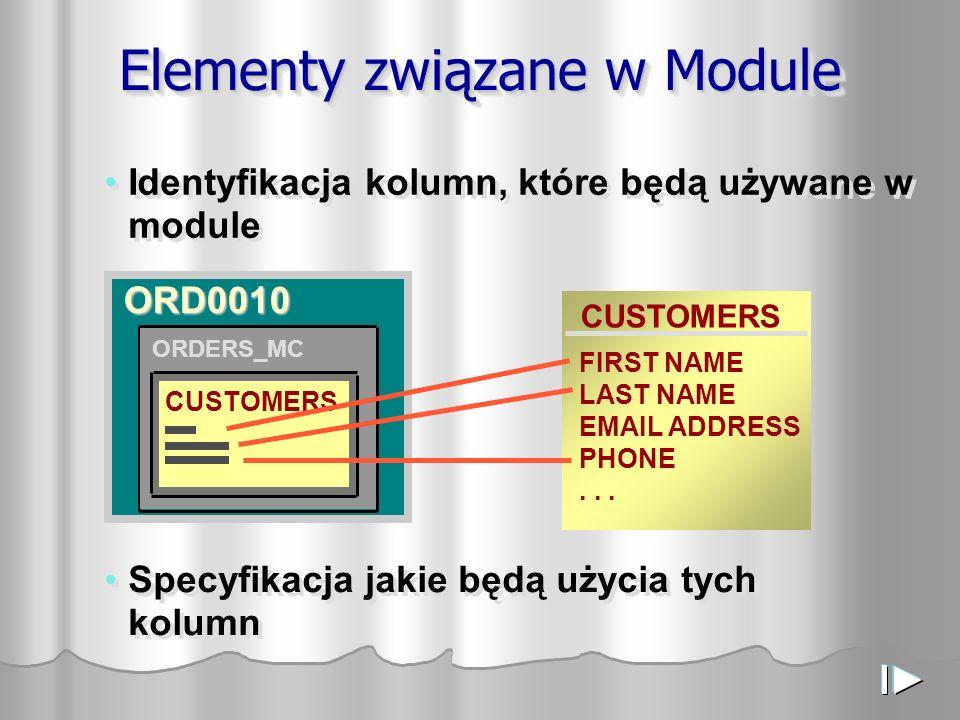 Elementy związane w Module Identyfikacja kolumn, które będą używane w module ORDERS CUSTOMERS FIRST NAME LAST NAME EMAIL ADDRESS PHONE... CUSTOMERS OR
