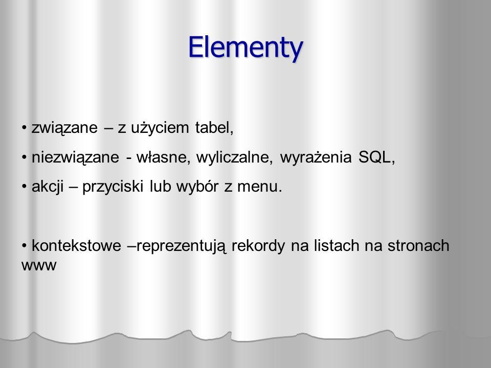 Elementy związane – z użyciem tabel, niezwiązane - własne, wyliczalne, wyrażenia SQL, akcji – przyciski lub wybór z menu. kontekstowe –reprezentują re