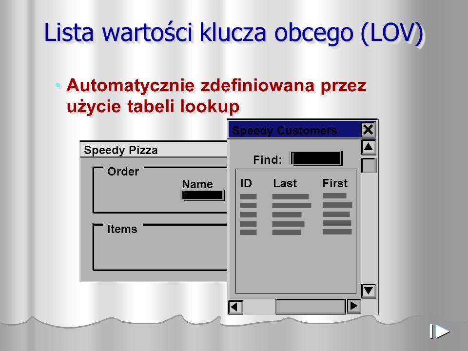 Lista wartości klucza obcego (LOV) Speedy Pizza Order Items NamePhone Automatycznie zdefiniowana przez użycie tabeli lookup Find: IDLastFirst Speedy Customers
