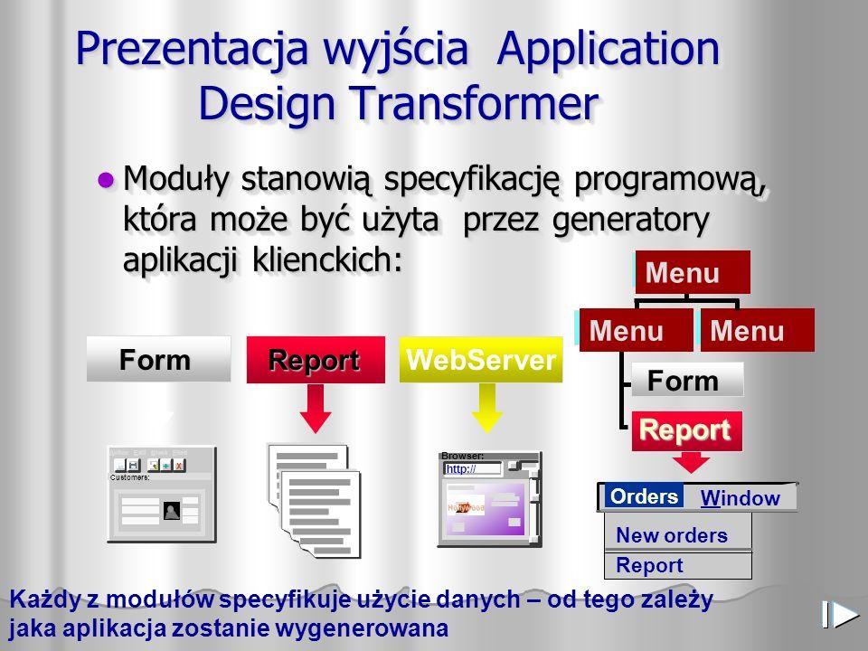 Prezentacja wyjścia Application Design Transformer Moduły stanowią specyfikację programową, która może być użyta przez generatory aplikacji klienckich