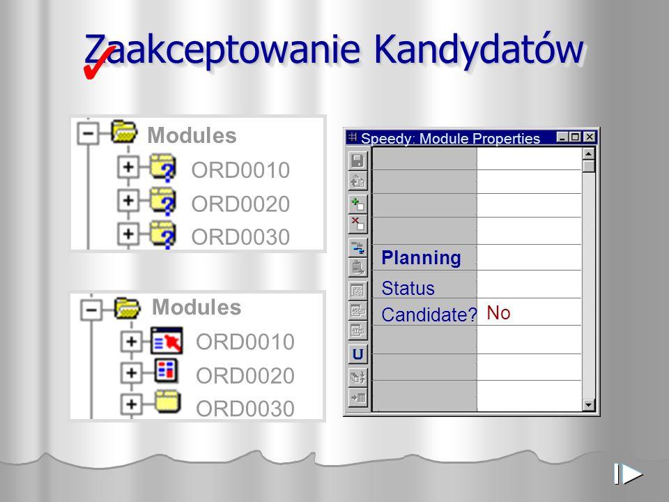 Przykłady diagramów nawigacji pomiędzy modułami ( struktura modeli, modułu wołane i wołające ) Widok danych Widok układu – z przyciskami nawigacyjnymi (action items) TEST0010 TEST0030
