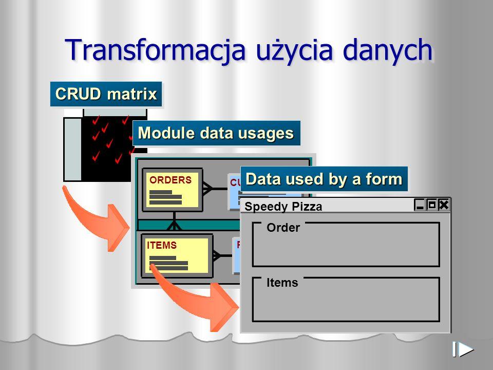 Moduły Budowane Blokowo Moduł Komponent modułu Używane tabele CUSTOMERS ORDERS ORD0010 ORDERS_MC Diagram modułów otrzymujemy poprzez drag and drop lub File-> New.