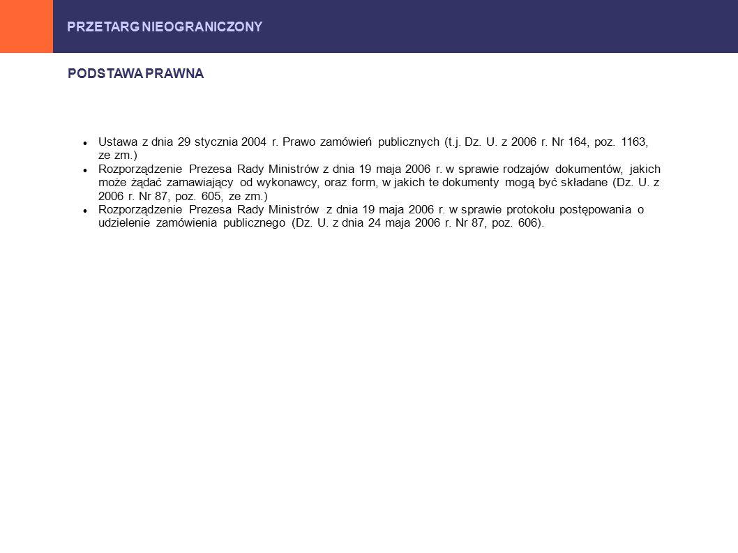 PRZETARG NIEOGRANICZONY PODSTAWA PRAWNA Ustawa z dnia 29 stycznia 2004 r.