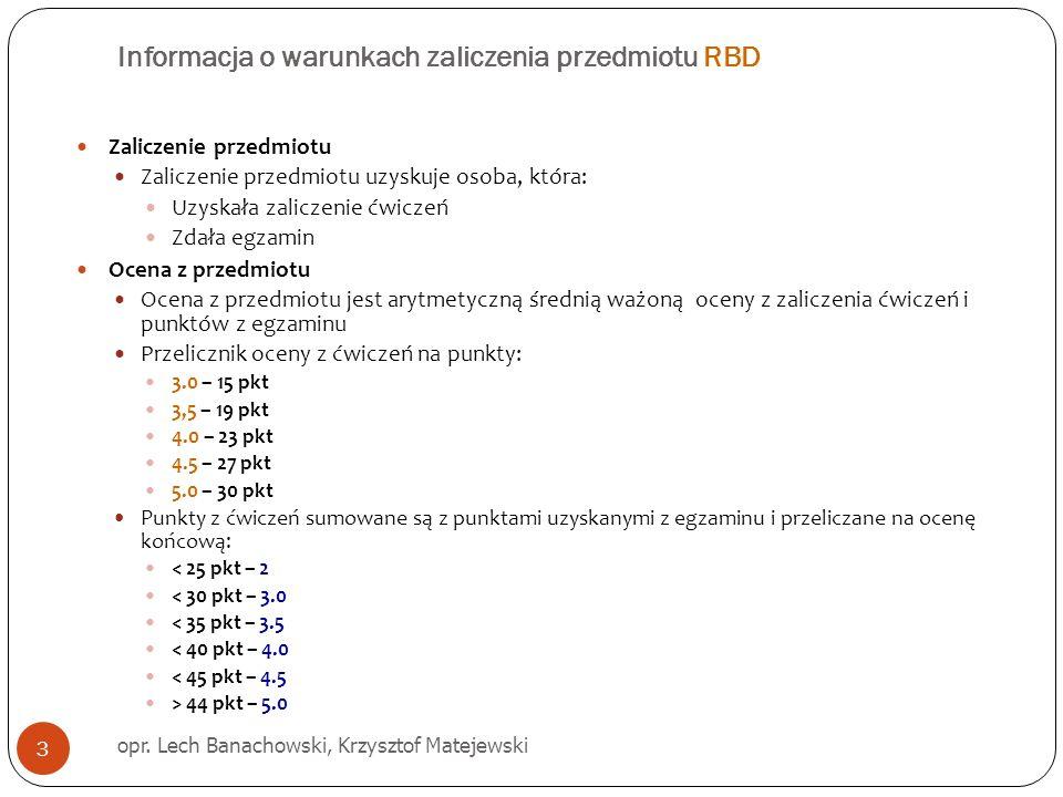 Informacja o warunkach zaliczenia przedmiotu RBD opr. Lech Banachowski, Krzysztof Matejewski 3 Zaliczenie przedmiotu Zaliczenie przedmiotu uzyskuje os