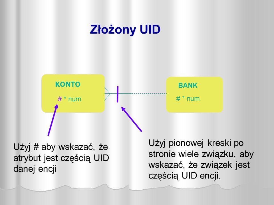 KONTO # * num BANK # * num Użyj pionowej kreski po stronie wiele związku, aby wskazać, że związek jest częścią UID encji.