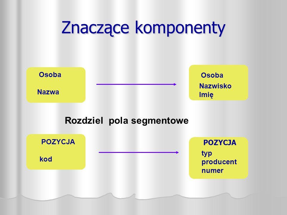 Znaczące komponenty Osoba Nazwa Osoba Nazwisko Imię POZYCJA kod POZYCJA typ producent numer Rozdziel pola segmentowe