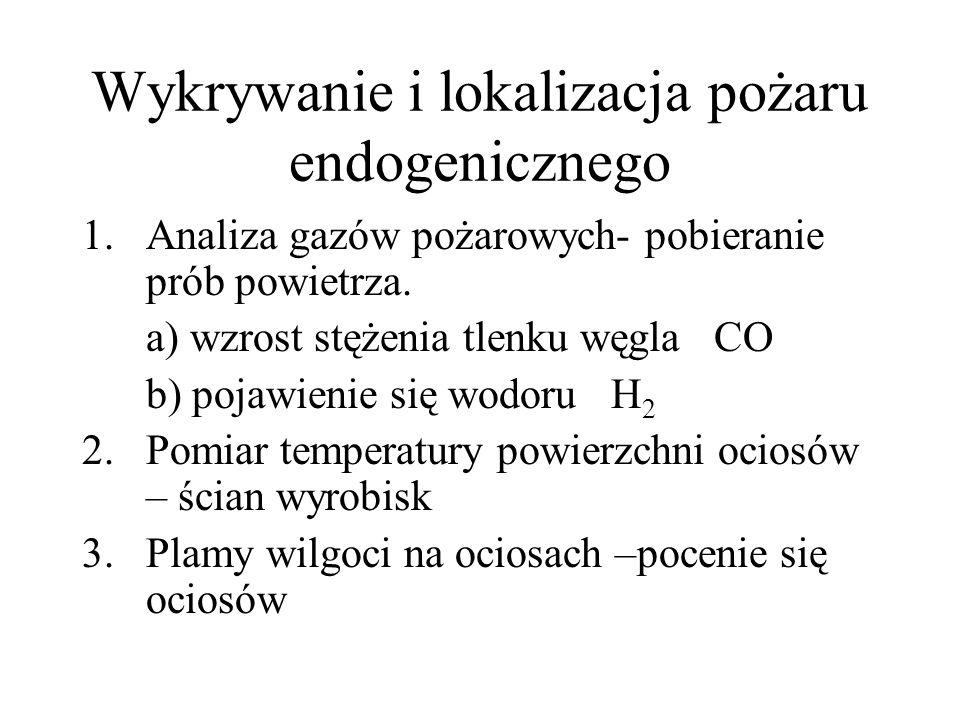 Wykrywanie i lokalizacja pożaru endogenicznego 1.Analiza gazów pożarowych- pobieranie prób powietrza. a) wzrost stężenia tlenku węgla CO b) pojawienie
