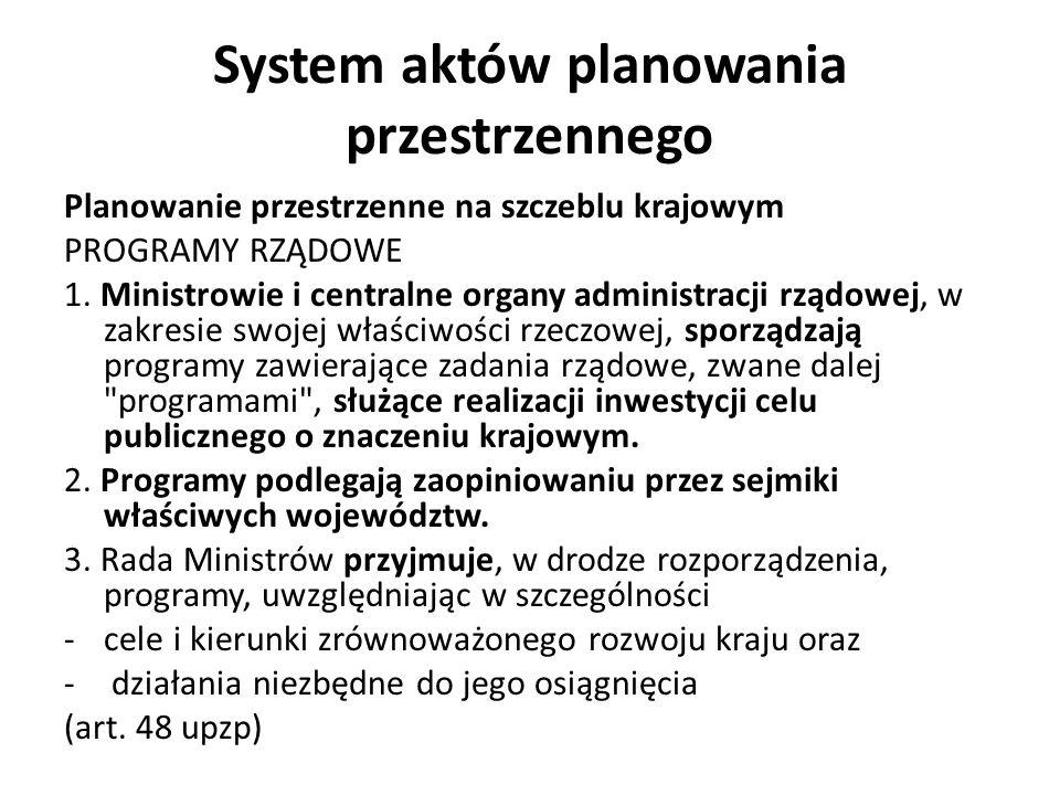 System aktów planowania przestrzennego Planowanie przestrzenne na szczeblu krajowym PROGRAMY RZĄDOWE 1. Ministrowie i centralne organy administracji r