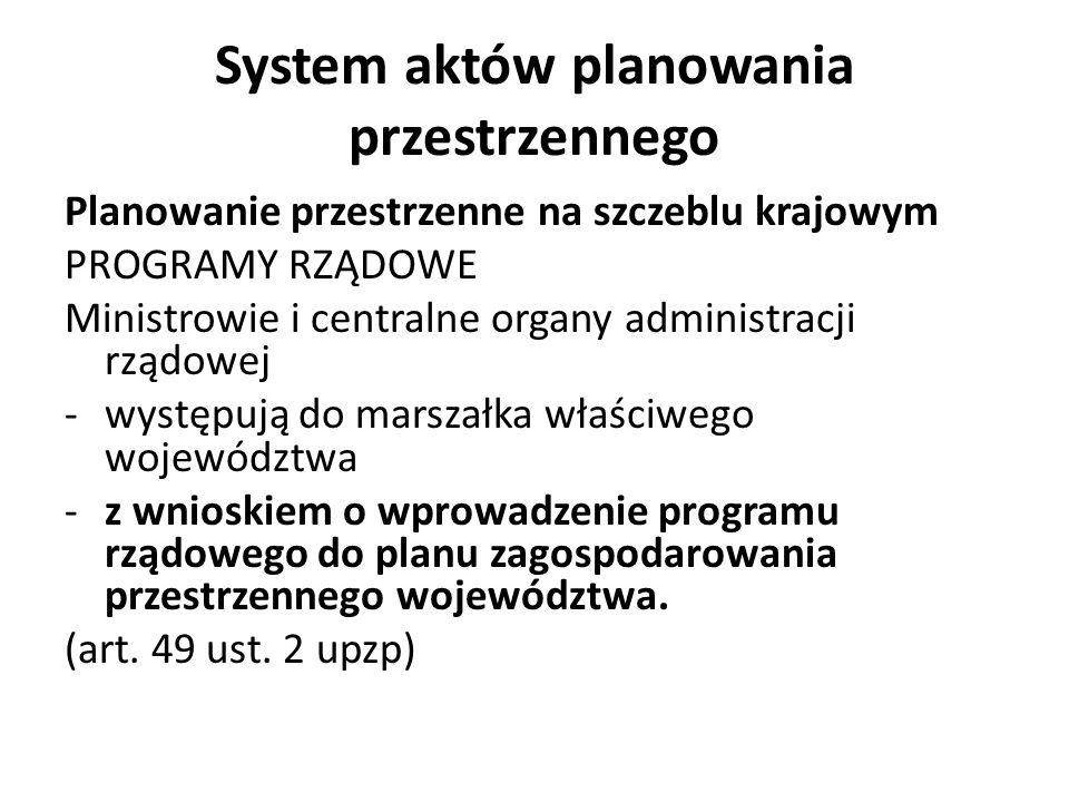 System aktów planowania przestrzennego Planowanie przestrzenne na szczeblu krajowym PROGRAMY RZĄDOWE Ministrowie i centralne organy administracji rząd