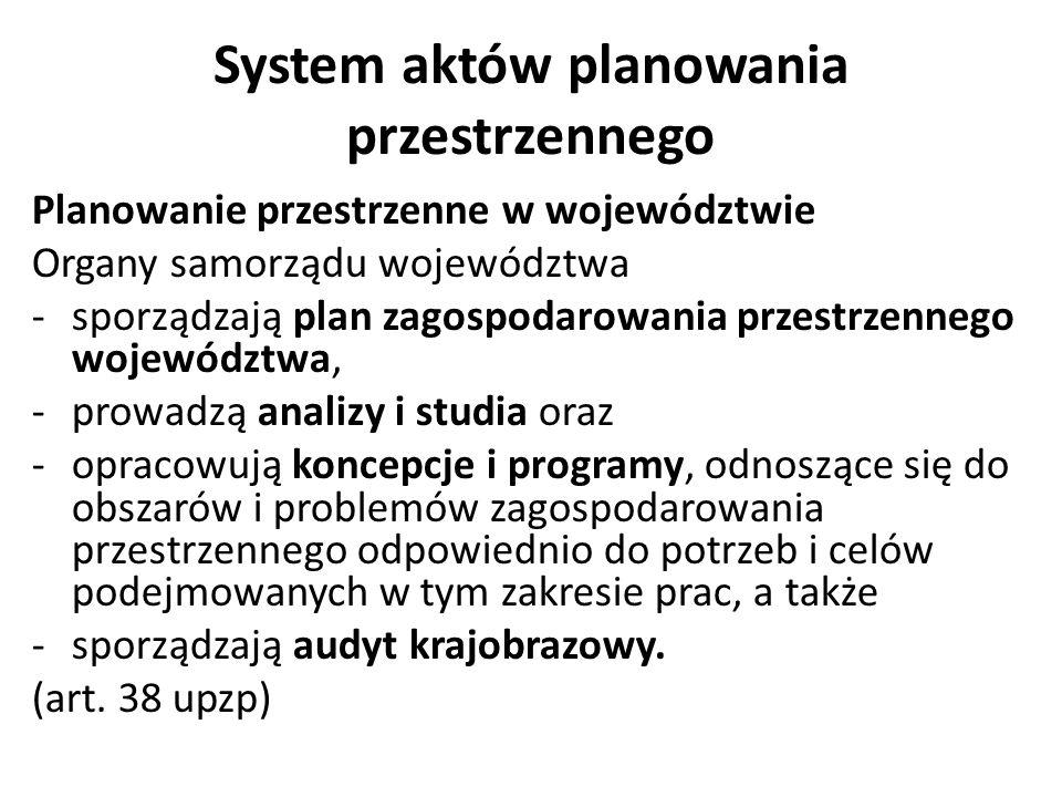 System aktów planowania przestrzennego Planowanie przestrzenne w województwie Organy samorządu województwa -sporządzają plan zagospodarowania przestrz