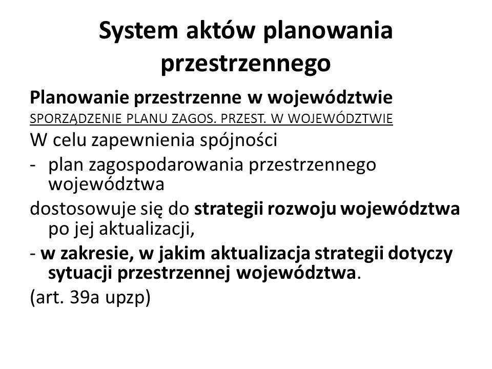 System aktów planowania przestrzennego Planowanie przestrzenne w województwie SPORZĄDZENIE PLANU ZAGOS. PRZEST. W WOJEWÓDZTWIE W celu zapewnienia spój